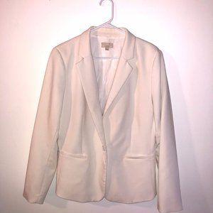 Loft Womens White Ivory Long Sleeve Front Pockets 2 Button Blazer Size 14